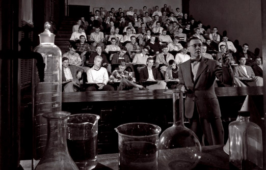 Haverford chemistry lecture image from 1952